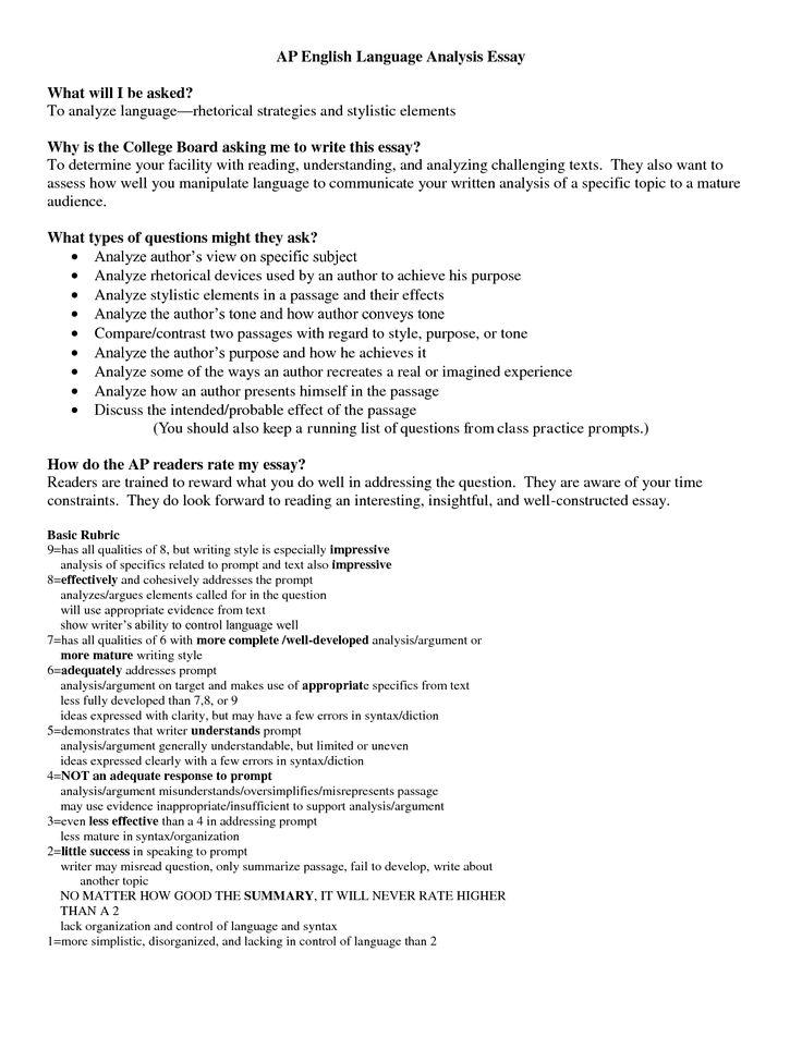 AP English Language Analysis Essay=Student is presented