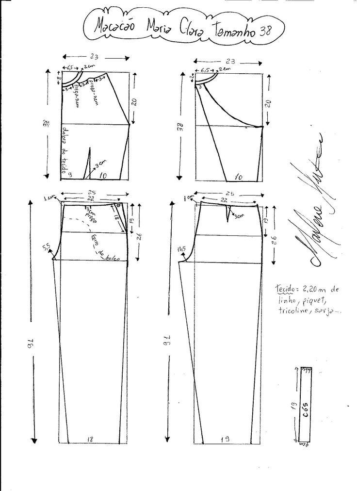 Esquema de modelagem do Macacão Maria Clara tamanho 38.