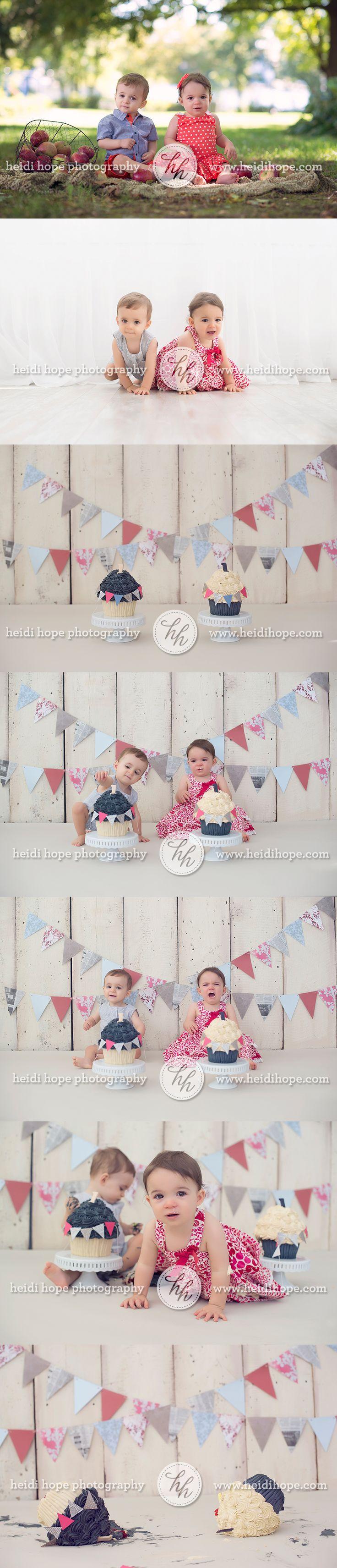 twins first birthday cakesmash