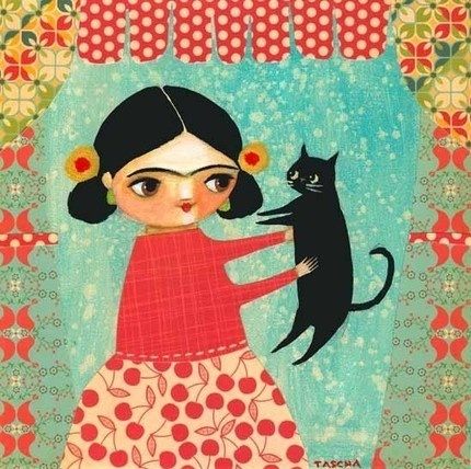 Frida and her little gato. I'm in love with this Etsy seller and want all of these paintings!Kitty Cat, Cat Baby, Black Cats, Mixed Media, Frida Kahlo, Art History, Frida Khalo, Blackcat, Baby Cat