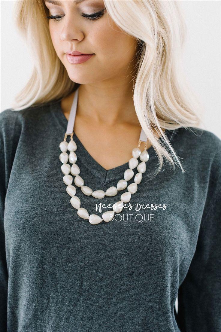 Shimmery Stone Ribbon Necklace, trendy boutique jewelry, boutique necklace, boutique bracelet, flower bracelet