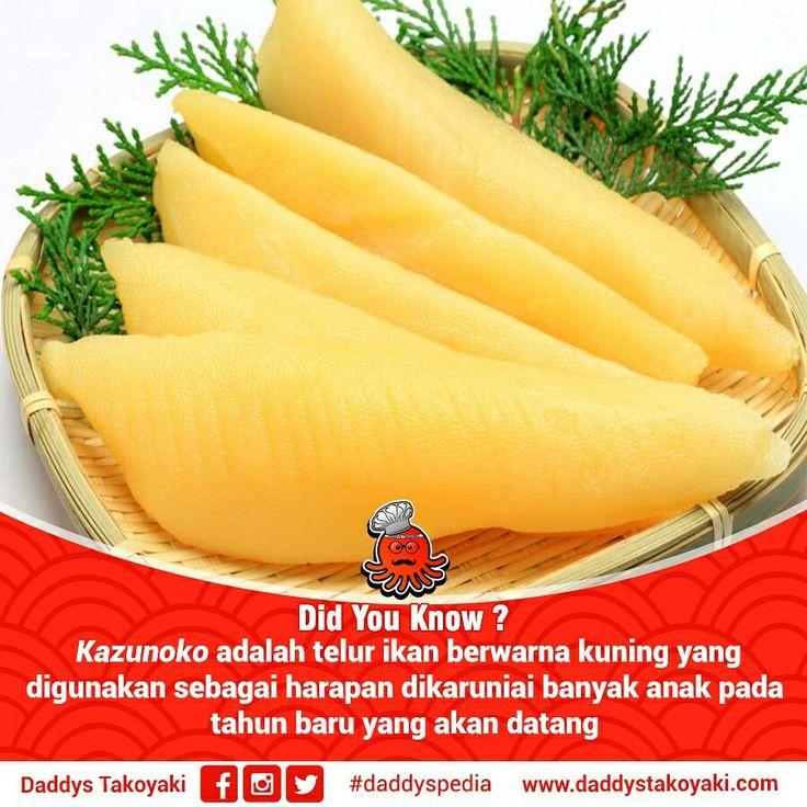 Kazukono adalah telur ikan Hering yang diasinkan, makanan ini termasuk makanan inti dari Osechi yang sengaja disiapkan untuk pergantian tahun. Disebut makanan istimewa karena dimakan pada saat tahun baru di Jepang. Memakan Kazunoko memiliki makna akan dikaruniai banyak rejeki terutama memperoleh keturunan di tahun berikutnya. . . More: cek bio | blog.daddystakoyaki.com | www.daddystakoyaki.com