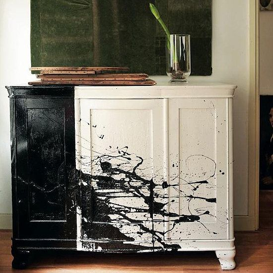 BSpruce up an old piece of furniture with black and white paint like this Paint spattered dresser featured in   Handmade Home.Source: Photo courtesy of Debi Treloar for The Handmade Home. Wow!!!!