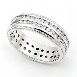 18k White Gold Channel set Diamond Eternity Wedding Band Ring (G-H/SI, 1 1/7 ct.)