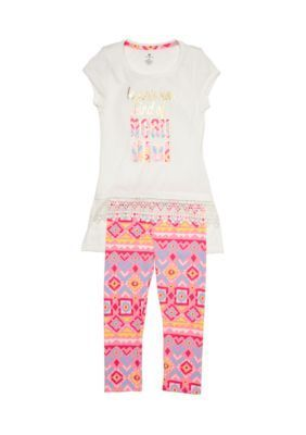One Step Up Coconut Multi Graphic Top and Printed Legging 2-Piece Set Girls 4-6x