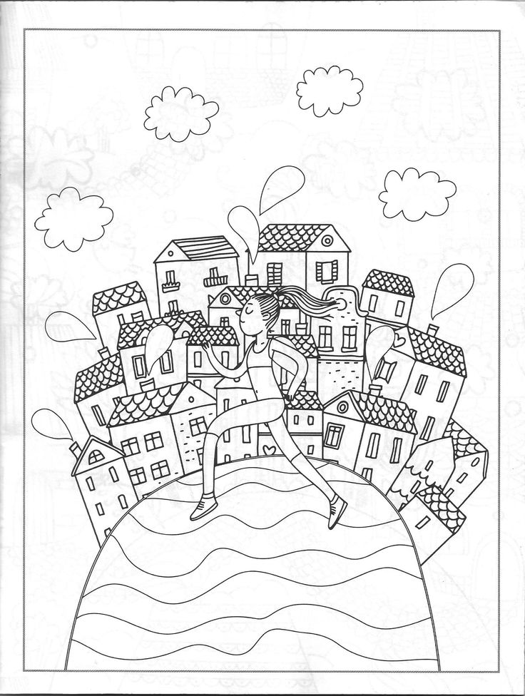 Town On A Hill Coloring Page Vida Simples Cidade Dos Sonhos