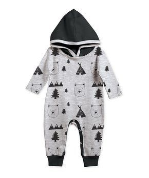 Black U0026 Gray Bears Hooded Playsuit   Infant. Jungs SchrankStilvolles Baby  ...