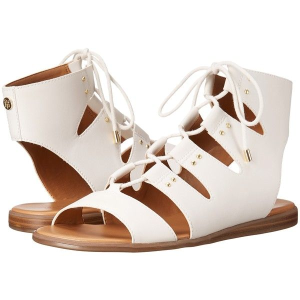 Tommy Hilfiger Beautie (White) Women's Shoes ($48) ❤ liked on Polyvore featuring shoes, sandals, white, open toe shoes, tommy hilfiger shoes, wedge shoes, white sandals and white wedge sandals