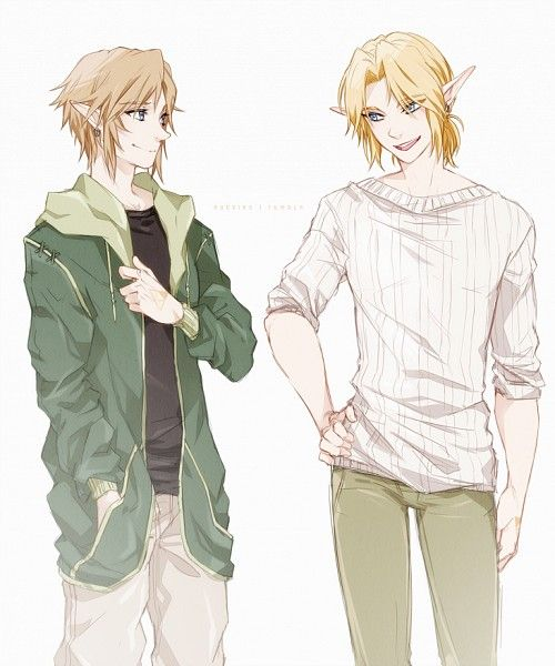 Modern Ocarina of Time Link on the right and I think Twilight Princess Link on the Left... idk (It would make the most sense)