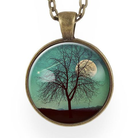 Tree And Shooting Star With Moon Necklace, On Teal Blue – CellsDividing