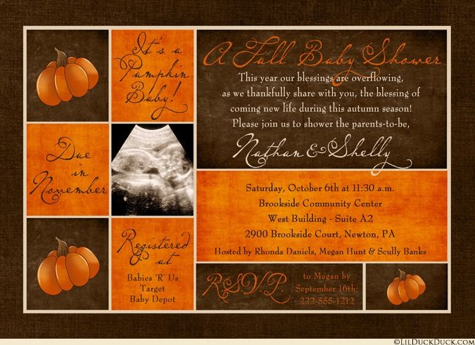 This chic autumn baby shower invitation has a grownup shabby chic feel, with cream, orange & brown patterned blocks amongst optional ultrasound or maternity photos. Designed to be flexible, we can change the number & size of the photos, as well as the classic fall colors, the pumpkin graphics, the patterns & even the fonts if you wish.