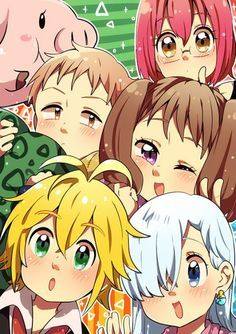 "Nanatsu no Taizai ""The Seven Deadly Sins"" (Chibi) - Hawk, Gowther, King (Harlequin), Diane, Meliodas and Elizabeth Liones"