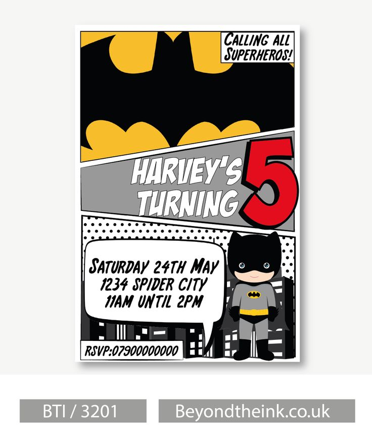 Personalised Batman Comic Invitations.  Printed on Professional 300 GSM smooth card with free envelopes & delivery as standard. www.beyondtheink.co.uk