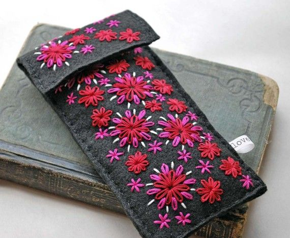 Hand Embroidered Felt Pencil Case