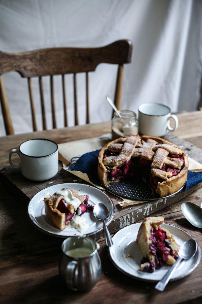 Apple and Blueberry Hazelnut Deep-Dish Pie