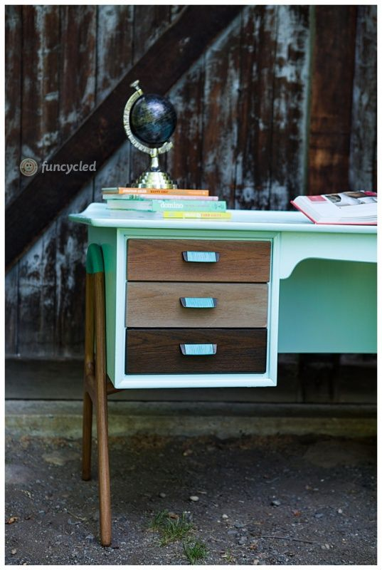 Aqua and Ombre mid century desk by FunCycled www.funcycled.com