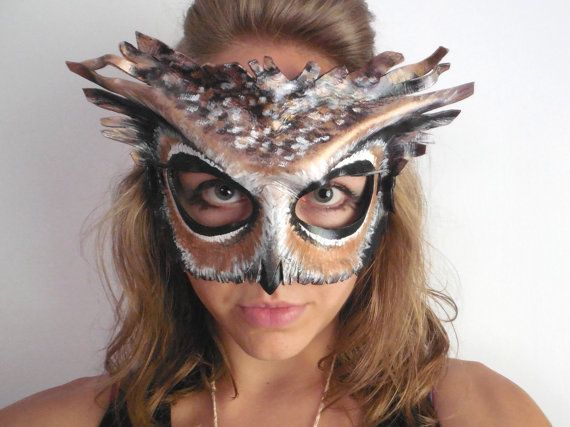 Leather Owl Mask  Adult or Child Sizes  Masquerade by LovelyLiddy