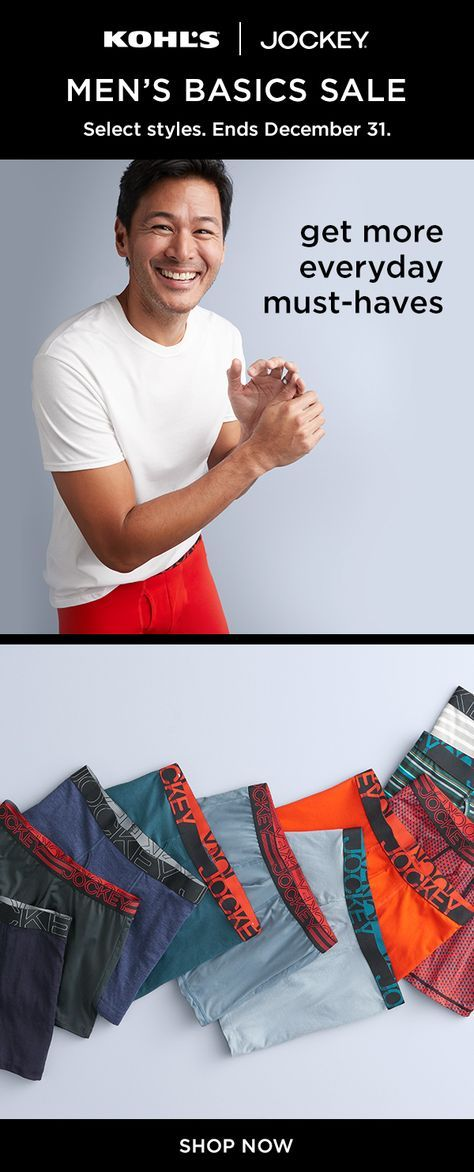 50b727d01255f8 Shop the Men s Basics Sale at Kohl s and save on the essentials you love.  Take an extra 20% off your online purchase of Jockey® active underwear.