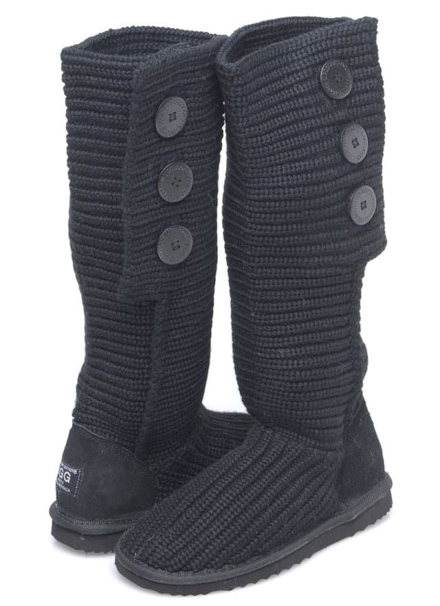 Knitted Boots Knitted boots are made from Australian Sheepskin Made in Australia Ideal for all ages Great fashion boot that features 3 decorative buttons.