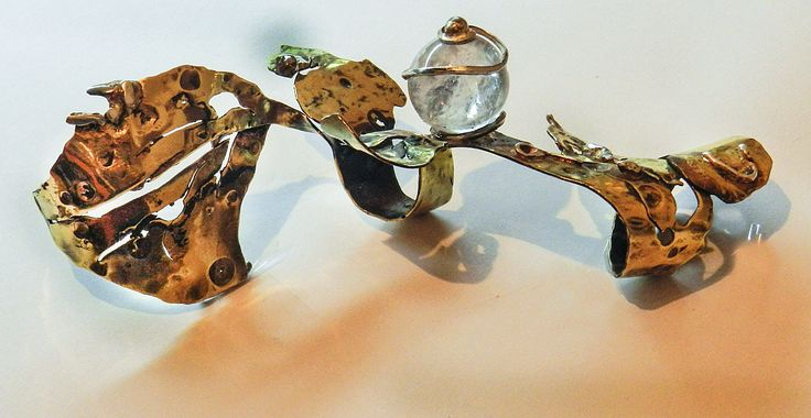 Three finger wrap ring made from Brass and Silver with Crystal stone. - By Corina - Florina Cubici.