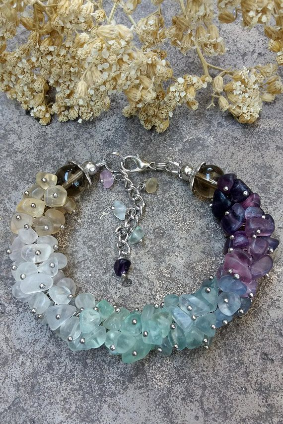 Fashion bracelet Fluorite stone bracelet Green blue purple Boho Chic jewelry Fluorite jewelry Statement birthstone bracelet Boho bracelet. ♥ Beautiful multicolor fluorite bracelet. This jewelry can be a great gift for women! ♥ MADE TO ORDER. Allow up to 5 days for the custom