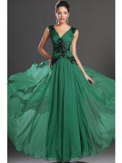 A-Line/Princess V-neck Chiffon Sleeveless Ruffles Ankle-Length Dresses