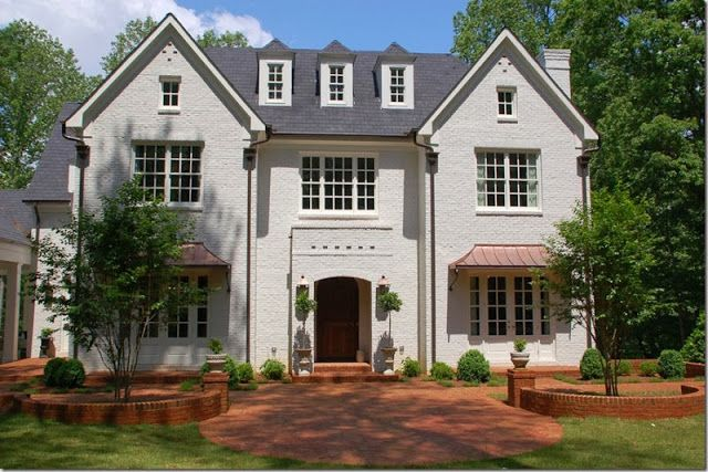 Best Dark Grey Roof White Painted Brick Copper Awnings 400 x 300