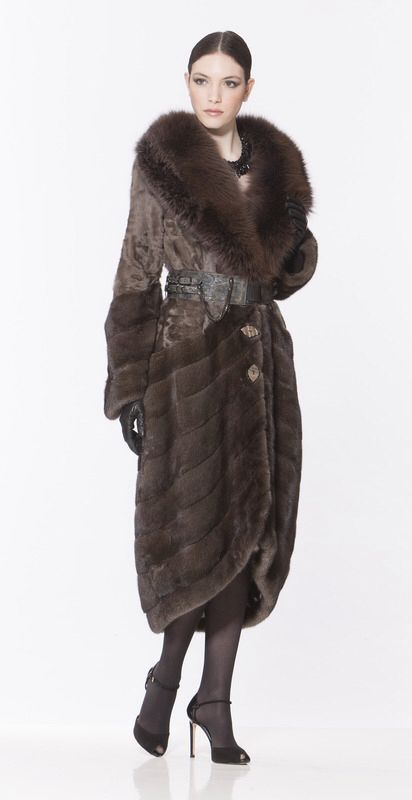 Braschi Dyed Mink, Dyed Swakara Lamb and Dyed Fox Fur Coat