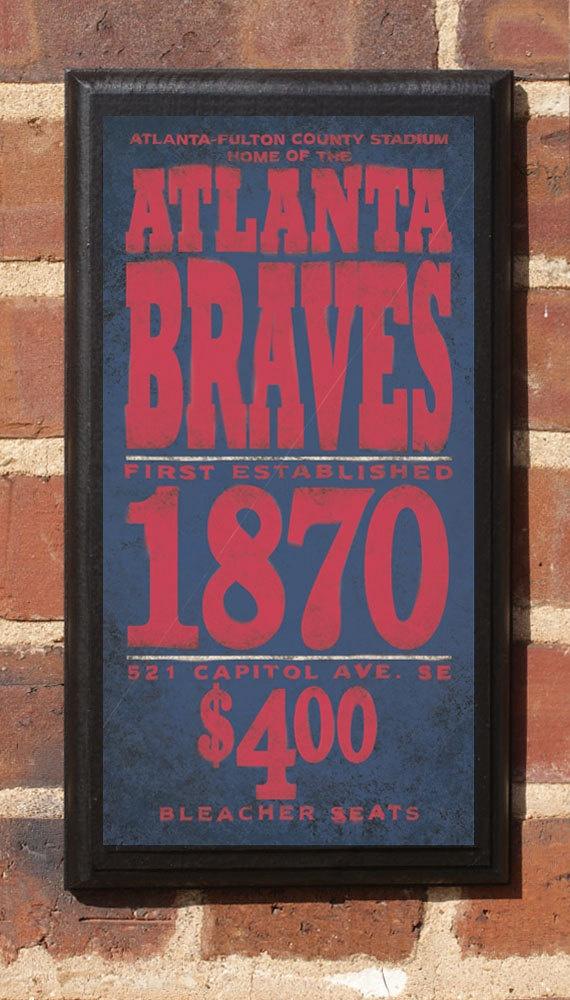 Atlanta Braves Vintage Style Wall Plaque