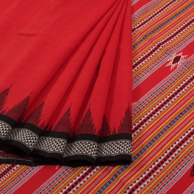 Buy online Handwoven Red Bomkai Cotton Saree With Kumbha Border & Without Blouse 10013163