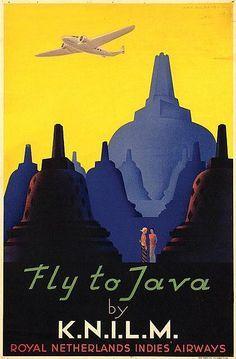 vintage travel poster indonesia