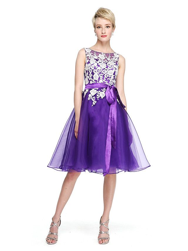 A-Line Jewel Neck Knee Length Lace Organza Bridesmaid Dress with Beading Appliques Bow(s) Sash / Ribbon by LAN TING BRIDE® - USD $84.99 ! HOT Product! A hot product at an incredible low price is now on sale! Come check it out along with other items like this. Get great discounts, earn Rewards and much more each time you shop with us!