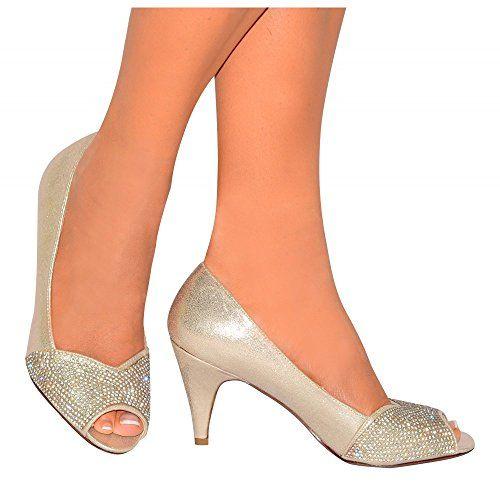 Ladies Womens Gold Diamante Bridesmaids Bridal Peep Toes Court Shoes Mid Kitten Heel High Heels 3-8 UK5/EURO38/AUS6/USA7 Shoe Closet http://www.amazon.co.uk/dp/B00UZ6M228/ref=cm_sw_r_pi_dp_oioivb0YRVEP0