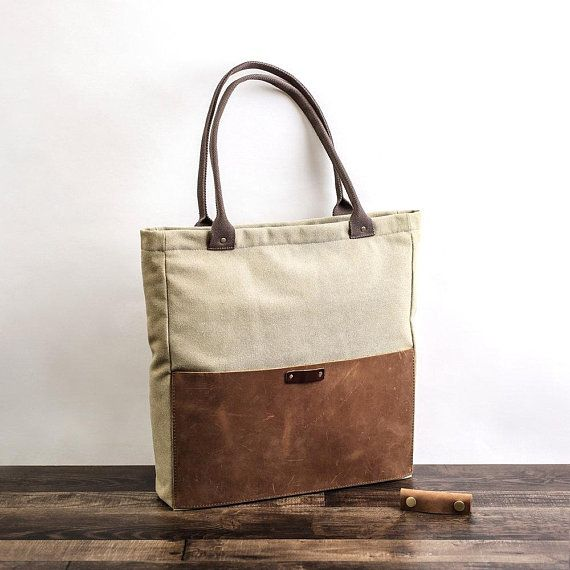 Personalized Handmade Canvas Leather Tote
