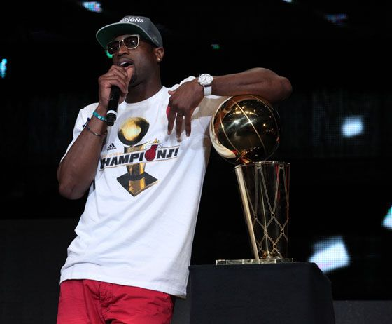 Hublot Ambassador Dwyane Wade celebrating the HEAT's victory at the AmericanAirlines Arena