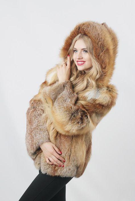 Real red fox fur jacket / Real fur coat