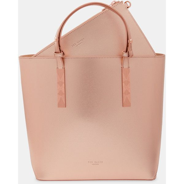 Embossed detail leather shopper bag ($225) ❤ liked on Polyvore featuring bags, handbags, rose gold, leather tote shopper, red purse, red leather handbags, red handbags and leather purses