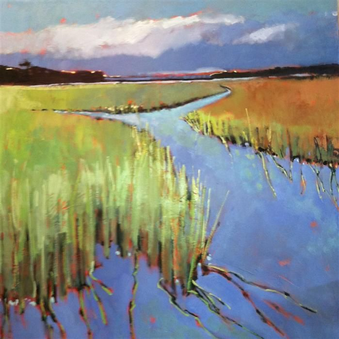 Original art for sale at UGallery.com | Marsh Path by Mary Pratt | $3,475 | oil painting | 48' h x 48' w | http://www.ugallery.com/oil-painting-marsh-path
