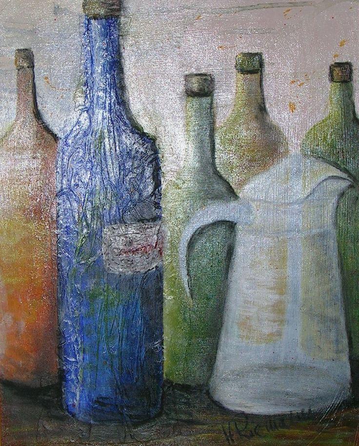 Flaschen, Acryl,