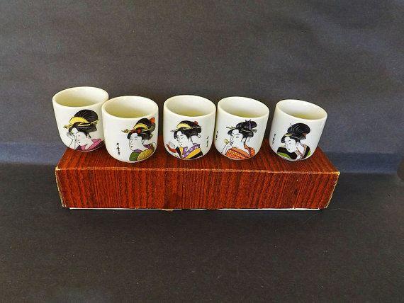 Vintage Sake Set In Box Asian Liquor Glasses by VintageAndOld