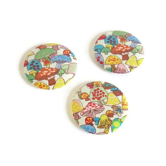 Lot de 3 magnets réfrigérateur champignons multicolores
