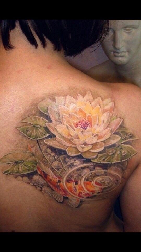 Koi pond lotus lily pad zen water garden tattoo | Future ...