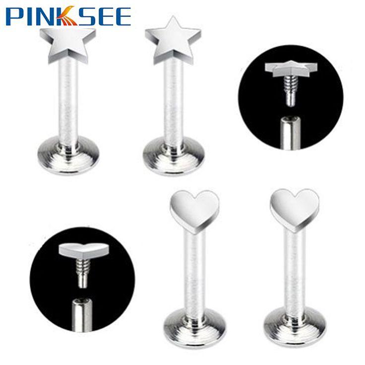 Ear Piercing Lip Body Labret Cartilage Helix Tragus Star Heart Barbell Bar Earrings Surgical Steel Ear Studs Piercing 6-10mm
