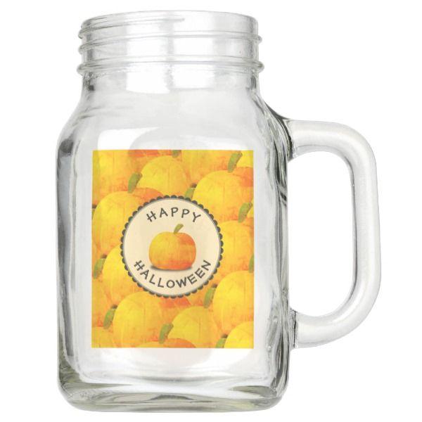 Pumpkins Happy Halloween Mason Jar #halloween #holiday #drinkware #party #cups