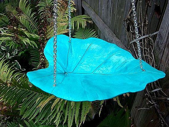 Blue Lagoon Birdbath/Bird Feeder Hanging Leaf by stemsofstone,