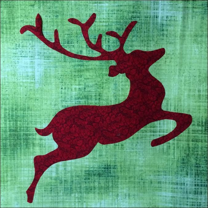 """= free pattern = Rudolph (reindeer) by Lyn Brown. 2014 """"Do You See"""" block of the week quilt."""