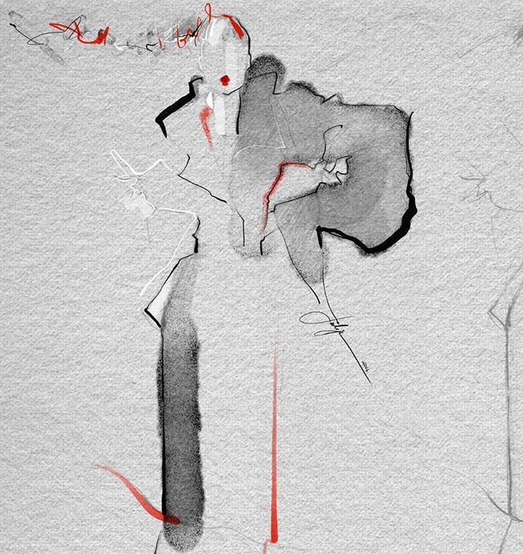 Really simple watercolor but so expressive. My favorite red-black-white/grey color palette again. x