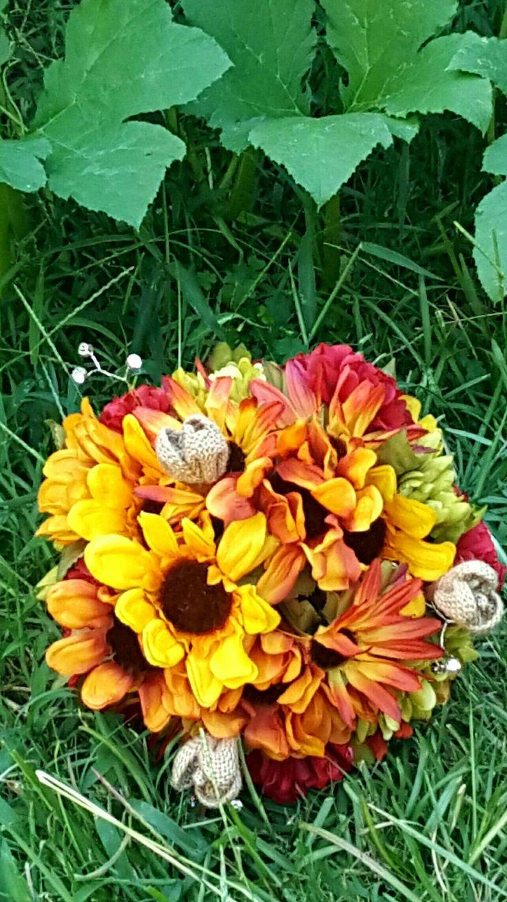 Fall burlap flower bouquet