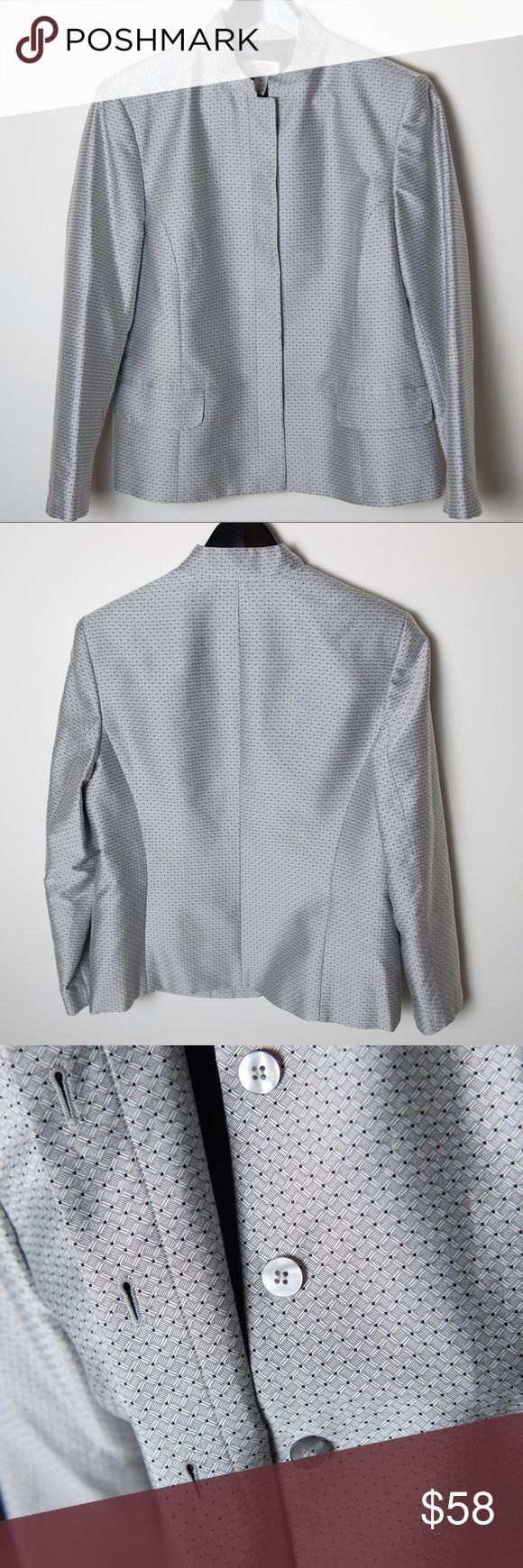 Talbots Mandarin Collar Jacket Silver Black 10 Overall good condition size 10 Talbots blazer in silver with black pattern. Classic Talbots tailoring with a Mandarin style collar, button up front. Shell 70% cotton, 30% silk. Lining - 100% polyester. Dry clean only. Talbots Jackets & Coats Blazers