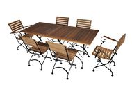 French Café Bistro Dining Set - 7 Pieces: Folding Table with Jet Black Frame - Rectangular African Teak Wood Slat Top   2 Folding Arm Chairs and 4 Folding Side Chairs / Jet Black Frame / African Teak Wood Slats (4116T-5509T(4)-5510T(2)-BK)